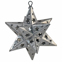 Mexican Punched Tin Star Ornaments - Set of 2