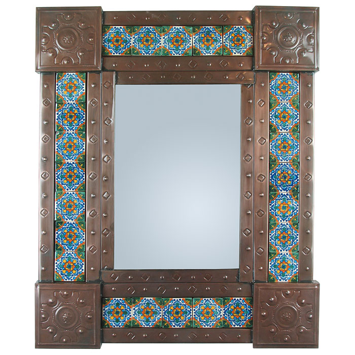 Mexican Punched Tin & Talavera Tile Mirror - 20\