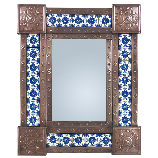 Mexican Punched Tin Talavera Tile Mirror 20 X 24