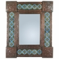 "Mexican Punched Tin & Talavera Tile Mirror - 20"" x 24"""