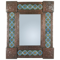 Mexican Punched Tin & Talavera Tile Mirror