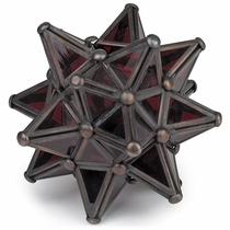 Mexican Red Glass Star Lantern Candle Holder