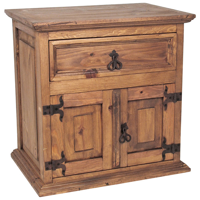 Mexican Rustic Furniture Double Door Nightstand. Mexican Pine Bedroom Furniture