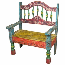"Mexican Rustic Multi-Color Painted Wood Bench with Arched Back  37"" Wide"