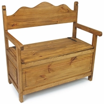 Mexican Rustic Pine Storage Bench