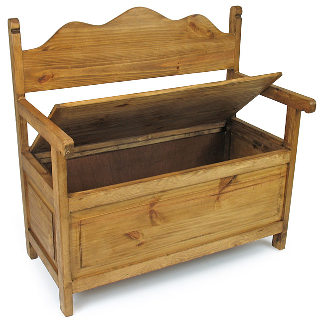 Rustic Pine Storage Bench - Mexican Furniture