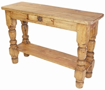 Mexican Rustic Pine Turned Leg Sofa Table with Drawer