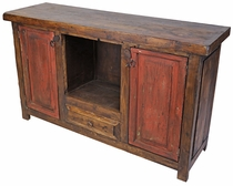 Mexican Rustic Wood Credenza with Red Doors