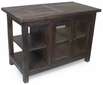 Mexican Rustic Wood Sideboard with Glass Doors & open Shelves