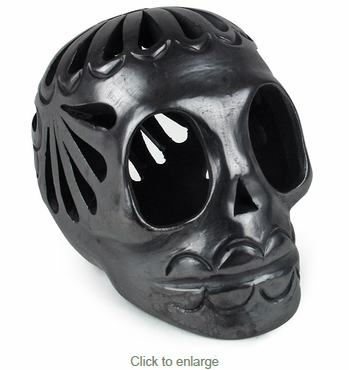Mexican Small Black Clay Skull
