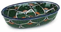 Mexican Talavera Dipping Bowl - Peacock Pattern