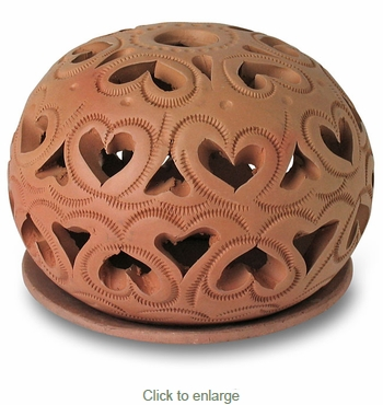 Mexican Terracotta Luminary with Candle Plate