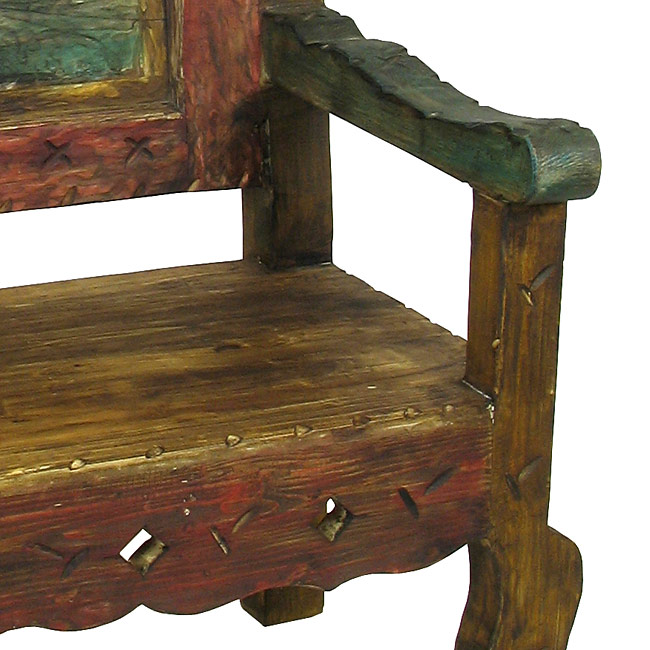 Swell Mexican Throne Chair Multi Color Painted Wood Beutiful Home Inspiration Ommitmahrainfo