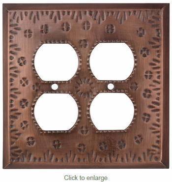 Mexican Tin 4 Outlet Cover - Flower