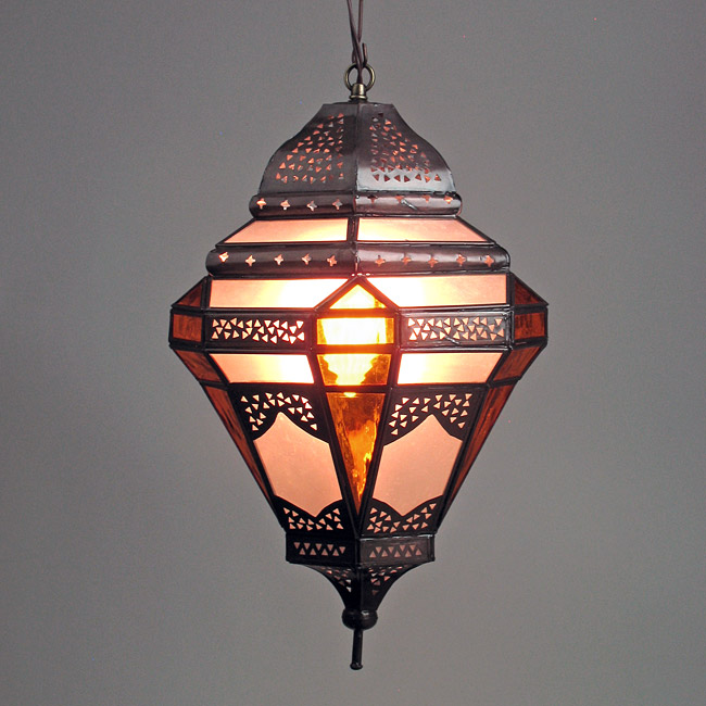 Mexican Tin Pendant Light With Frosted And Amber Colored Gl