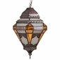 Mexican Tin Pendant Light with Frosted and Amber Colored Glass