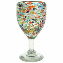 Mexican Pebbled Confetti Wine Glasses - Set of 4