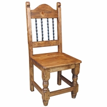Mexican Wooden Dining Chair with Twisted Iron Bars