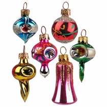 Mini Fantasy Blown Glass Ornaments - Box of 12