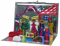 Mini Folding Painted Tin Nativity Scene