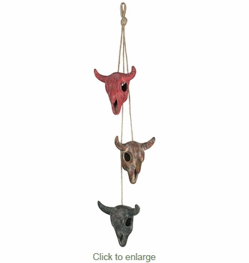 Mini Mexican Clay Toro Skulls on Rope