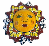 "Mini Talavera Sun Faces - Set of 3 - 4.5"" Dia."