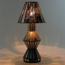 Mirrored Antiqued Glass Table Lamp