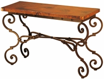 Monica Iron Base Console Table with Copper Top