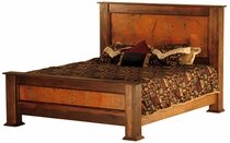 Montana Rustic Wood and Copper Panel Bed -Queen