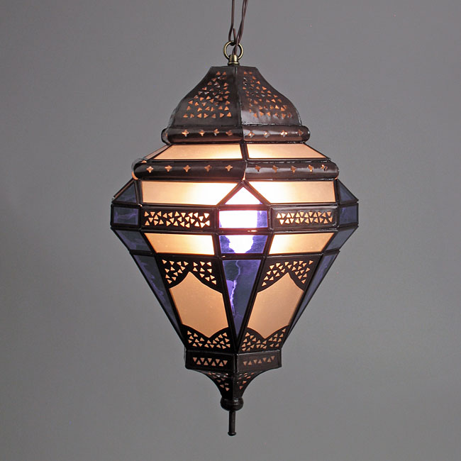 Moroccan Style Hanging Light With Frosted And Purple Colored