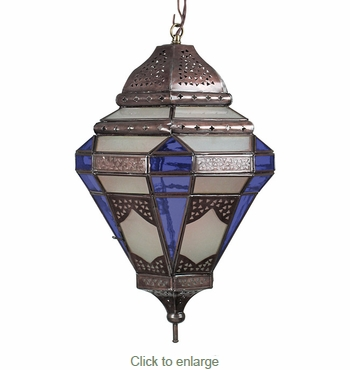 Moroccan Style Hanging Light with Frosted and Purple Colored Glass