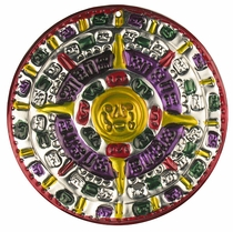 Multi-Color Aztec Calendar Ornament - Set of 2