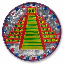 Multi-Color Mayan Pyramid Ornament - Set of 2