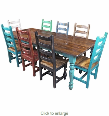 Multi Color Mexican Colonial Painted Wood Dining Set
