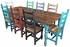 Multi-Color Mexican Colonial Painted Wood Dining Set - 9 Piece