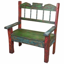 "Multi-Color Painted Wood Carved Bench 38"" Wide"