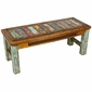 Multi-Color Rustic Coffee Table with Green Patina Legs