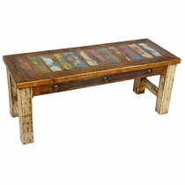 Multi-Color Rustic Coffee Table with White Patina Legs
