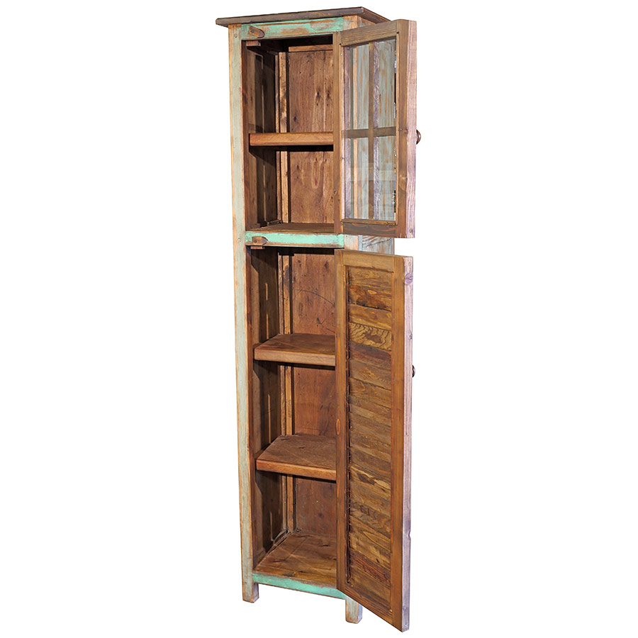 Narrow Painted Wood Cabinet Multi Color Slats And Glass Doors