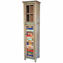Narrow Painted Wood Cabinet Multi-Color Slats and Glass Doors