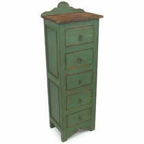 Narrow Painted Wood Lingerie Dresser - 5 Drawer - Green