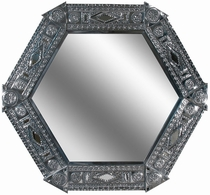 Natural Tin Chinese Hexagonal Mirror