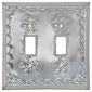 Natural Tin Double Switchplate - Star