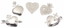 Natural Tin Heart Ornaments - Set of 6