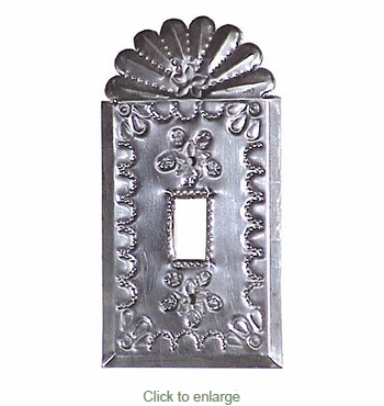 Natural Tin Mexican Switchplate - Single - Star with Crown