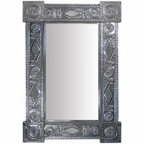 Natural Tin Rectangular Chinese Mirror