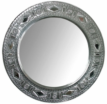Natural Tin Round Chinese Mirror