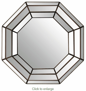 Octagonal Wall Mirror with Mirrored Frame