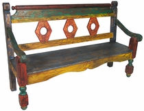 Old Mexico Hex Back Bench