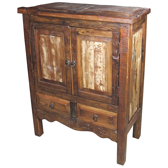 Old Rustic Wood Pantry Cabinet With 2 Doors And 2 Drawers